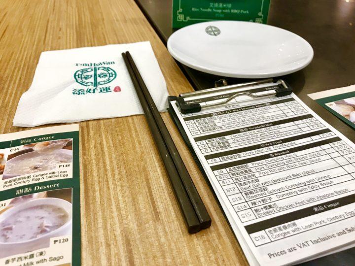 2018cebu_SMシーサイド Tim Ho Wan テーブル