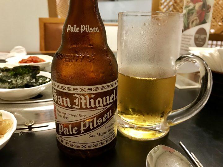 2018cebu_Jpark 韓国料理Maru ビール San Miguel Pale Pilsen