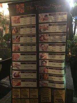 KualaLumpur_TheTropicalSpa_トロピカルスパのサービス料金メニュー
