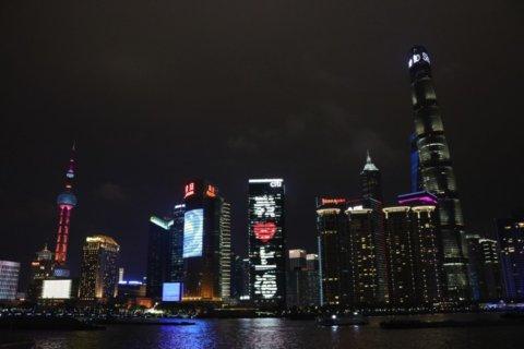 上海ヒルズのライトアップでは文字が様々に切り替わります